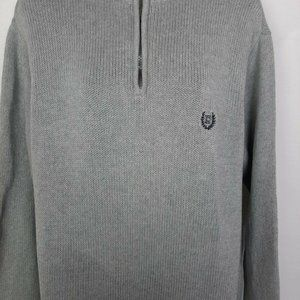 Chaps Gray Large L  Zip Long Sleeve 100% Cotton